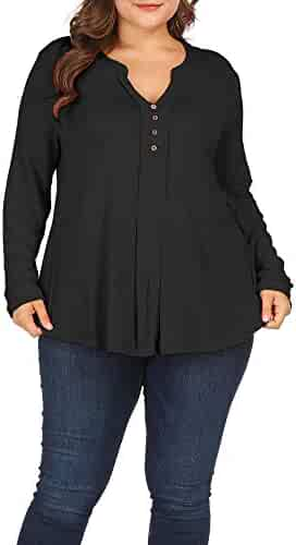 291ab2853c2 Allegrace Women Plus Size Casual Henley Button Up V Neck Top Long Sleeve T  Shirts