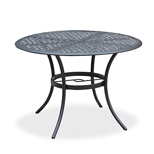 Romayard 42. 1″x 42. 1″x28. 3″ Outdoor Dining Table Round Patio Bistro Table Powder-Coated Steel Frame Top Patio Dining Table Outdoor Furniture Garden Table with 2.1″ Umbrella Hole (Black)