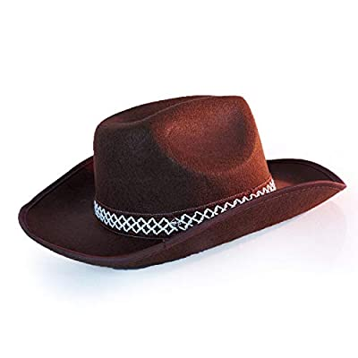 Brown Western Sheriff Cowboy Hat - One Size with Premium Fit Elastic Band - Costume Accessory: Clothing