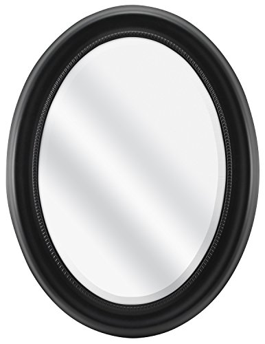 MCS Beaded Oval Wall Mirror, 22.5 x 29.5 Inch Overall Size, Black -