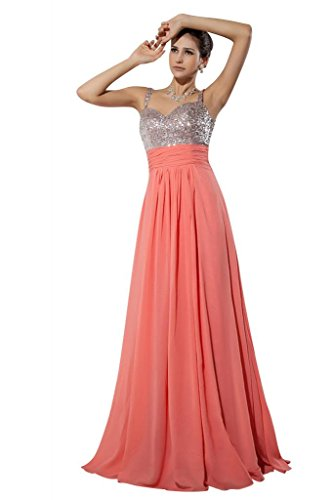 96215e9be36 GEORGE BRIDE Elegante Wassermelone Chiffon Abendkleid Wassermelone ymIcCn