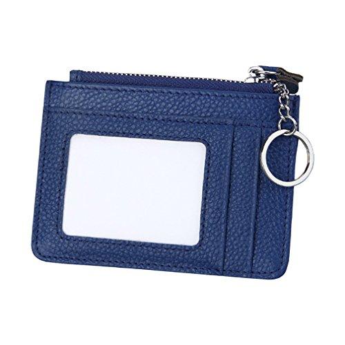 Monnaie Carte Porte Portefeuille Petit Cuir Rfid Topstore01 brun Bleu Blocage Zippé U46qwPI