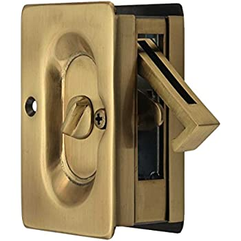 Emtek Pocket Door Privacy Lock Set Antique Brass Pocket