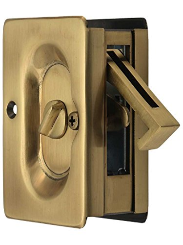 Privacy Lockset Brass Antique (Emtek Pocket Door Privacy Lock Set, Antique Brass)
