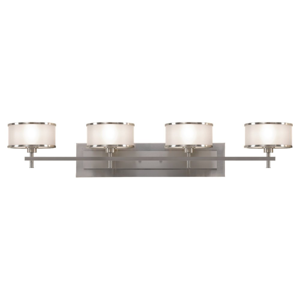 Feiss VS13704-BS Casual Luxury 4-Light Vanity Fixture, Brushed Steel by Feiss (Image #1)