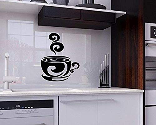 Swirl Teacup - Wall Vinyl Decal Coffee Tea Cup Swirl Kitchen Sign for Shop Office Home Cafe Vinyl Decor Sticker Home Art Print TT10845
