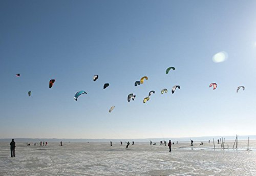 Gifts Delight LAMINATED 35x24 inches Poster: Sport Winter Ice Skis Kite Kitesurfing Snowkiting by Gifts Delight