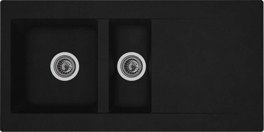 En min/éralite Couleur noire Pour cuisine Encastrable 100 x 50 cm /Évier Respekta Denver