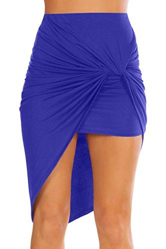 Simlu Womens Drape Up Stretchy Asymmetrical High Low Short Mini Bodycon Pencil Skirt, Royal Blue, Medium