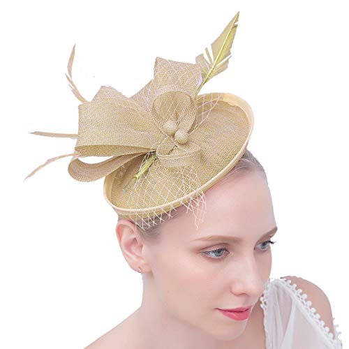 Felizhouse Fascinator Hats Women Ladies Feather Cocktail Party Hats Bridal Headpieces Kentucky Derby Ascot Fascinator Headband (#2 Cambric Khaki) by Felizhouse (Image #2)