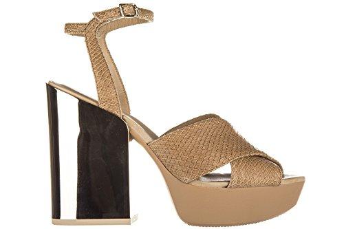 Hogan sandali donna con tacco pelle h292 bj marrone