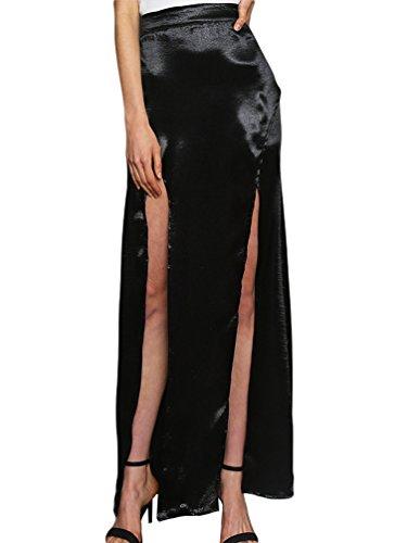 WanYang Mujeres Falda a Media Pierna Cintura Alta Bodycon Suelo Falda de Abertura Lateral Negro