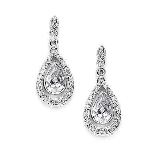 (Mariell Victorian Cubic Zirconia Teardrop Bridal or Formal Earrings with Gorgeous Vintage Bezel Setting)