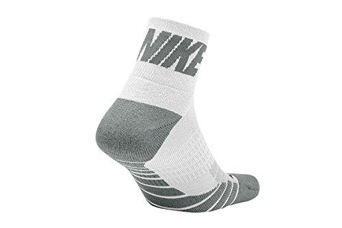 Nike Unisex Dry Cushioned Quarter High Golf Socks White/Gray Large by NIKE (Image #1)