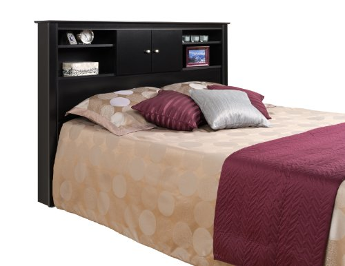 Black Kallisto Bookcase Headboard with Doors