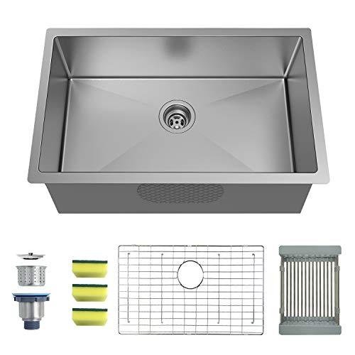 (MENSARJOR 30'' x 18'' Single Bowl Kitchen Sink 16 Gauge Undermount Stainless Steel Kitchen Sink, Bar or Prep Kitchen sink)