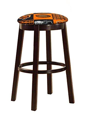 The Furniture Cove Espresso Wood and Metal Bar/Game Room Swivel Seat Bar Stool 24