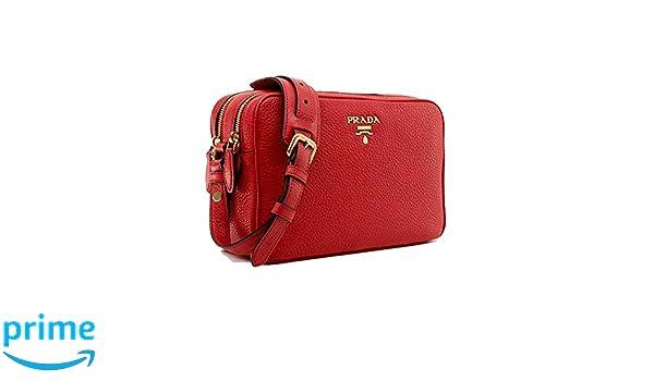 85faf6aa95e Prada Women's Red Vitello Phenix Leather Crossbody Handbag 1BH079:  Handbags: Amazon.com