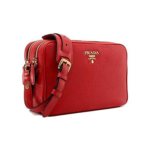 Prada Women's Red Vitello Phenix Leather Crossbody Handbag 1BH079