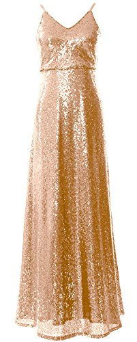 Rose Bridesmaid Gown V Women MACloth Long Sequin Dress Party Gold Wedding Neck Evening HP6WWqnpcv