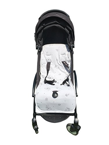 Organic Cotton Stroller Liner - Extra-Soft, Breathable Cover with Soft, Synthetic Fiber Filling. Total Comfort for Baby and Toddler. Machine Washable, 31x15 inches, Grey by Kookoolon