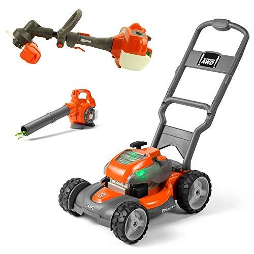 Husqvarna Battery-Powered Kids Toy Lawn Mower, Orange + Toy Leaf Blower + Toy Lawn Trimmer (Toy Weed Wacker)