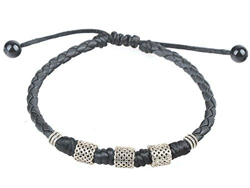 Ancient Tribe Handmade Adjustable Black Leather Anklet (1#)