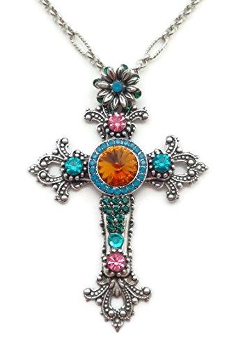 Mariana Silver Plated Multi Color Swarovski Crystal Ornate Cross Pendant Necklace 1086 Odyssey Selene