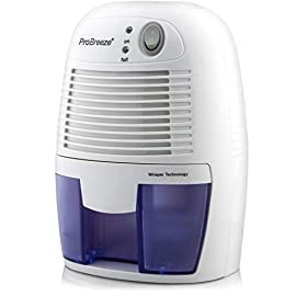 Pro Breeze Electric Mini Dehumidifier, 1200 Cubic Feet (150 sq ft), Compact and Portable for High Humidity in Home, Kitchen, Bedroom, Basement, Caravan, Office, Garage 11 SMALL & COMPACT - Lightweight, Compact and Portable - Capable of removing up to 9 ounces of water per day with a 16-ounce water tank capacity. Ideal for rooms up to 1200 cubic feet (150 sq ft). AUTO SHUT OFF: When full the dehumidifier will automatically shut off and the LED light will turn-on indicating the water tank needs draining. Simply empty the water tank and place it back into the dehumidifier. ULTRA-QUIET & EFFICIENT: Built-in Thermo-Electric Cooling Technology (Peltier) operates without a compressor meaning whisper quiet operation in bedrooms, bathrooms and offices.