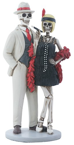 Skeleton Bones 1920s Flapper Dance Couple Decorative Figurine