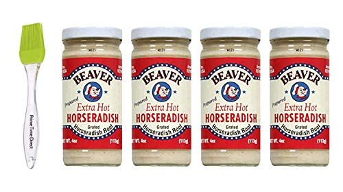 Beaver Horseradish Extra Hot 4 oz (4 pack) Bundled with Silicone Basting Brush in a Prime Time Direct Sealed Bag