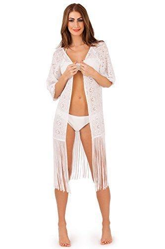 di Loungeable Boutique Bianco Kimono coprire nqqBR8WUr