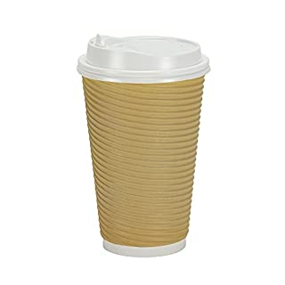 PREMIUM Disposable Hot Paper Cups With Lids, Double Wall & Ripple Insulation For Heat Protection, Tan, 30 Count - 16 oz. (B0199IIT6A) | Amazon price tracker / tracking, Amazon price history charts, Amazon price watches, Amazon price drop alerts