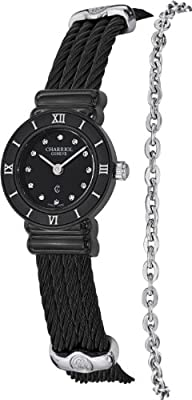 Charriol Women's 'St Tropez' Swiss Quartz Stainless Steel Dress Watch, Color:Black…