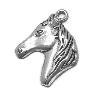 10 Horse Charms silver tone horse head