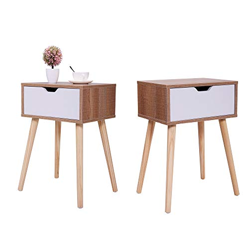 Set of 2 Mid-Century Wood Beside Table, End Table Nightstand for Living Room Bedroom w/Storage Drawer & Solid Wood Leg…