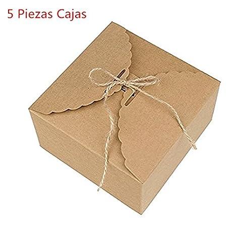 Caolator Lote de 5 cajas para pasteles, de papel de estraza, para decoración,