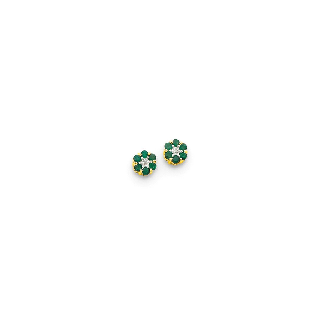 ICE CARATS 14k Yellow Gold Green Emerald Diamond Post Stud Ball Button Earrings Fine Jewelry Gift Set For Women Heart