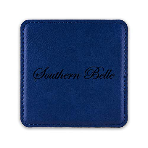 Southern Belle Drink Coaster Leatherette Coasters cowgirl country - Blue - One -