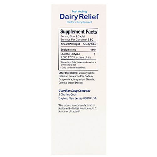 Guardian Dairy Relief Fast Acting Caplets, Lactase Enzyme, Pack of 2, 360 CT by Guardian (Image #4)