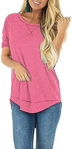JomeDesign Summer Tops for Women Short Sleeve Side Split Casual Loose Tunic Top