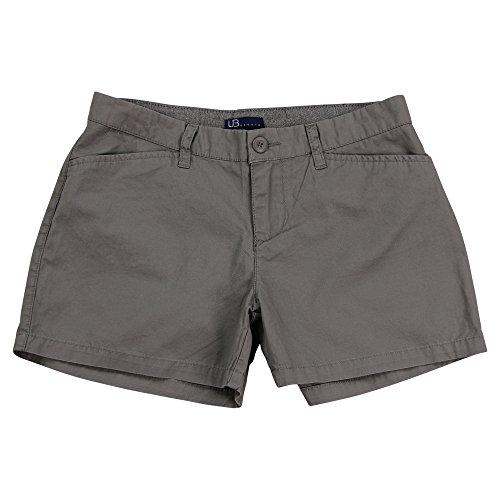 UB Apparel & Gear Women's Flat Front Chino Shorts (Gray, 3.5