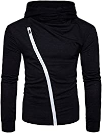 Mens Casual Slim Fit V Neck Long Sleeve T Shirt with Hooded/Hoodies Tops