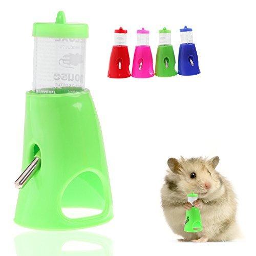 kathson 2 in 1 80ML Hamster Water Bottle Holder Dispenser With Base Hut Small Pet ()