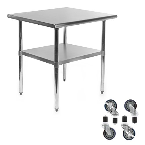 Gridmann NSF Stainless Steel Commercial Kitchen Prep & Work Table w/ 4 Casters (Wheels) - 30 in. x 24 in.