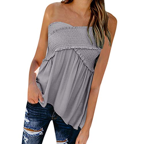 POQOQ Women Fashion Sexy Solid Sleeveless Slash Neck Loose Ruched Blouse Tops(Gray,XXL) ()