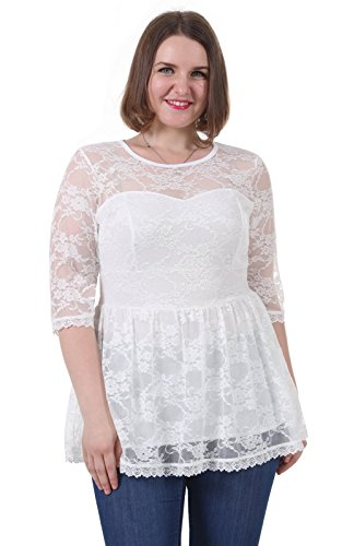 Sapphyra Women's White Summer Ladies Lace Top Lace Sleeve Top Plus Size 3X