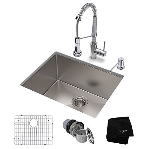 KRAUS KHU101-23-1610-53CH Set with Standart PRO Stainless Steel Sink and Bolden Commercial Pull Faucet in Chrome Kitchen Sink & Faucet Combo, 23 -