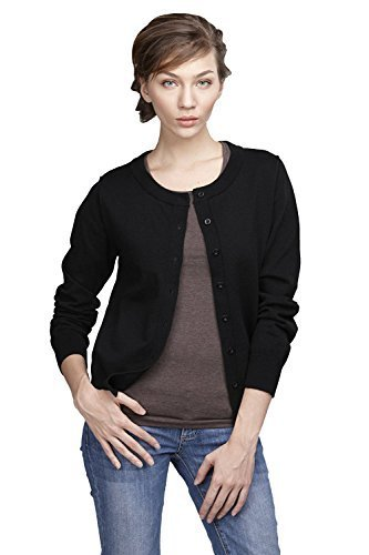 Wiwish Women Button Down Long Sleeve Crewneck Soft Cotton Classic Knit Cardigan Sweater Size XS-XL,Black,Large