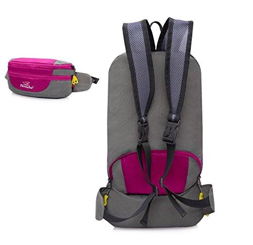ROBAG Montañismo al aire libre bolso doblado bolsillos unisex par de bandolera , red pink
